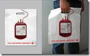 Midia - Sacolas promocionais (Cruz Vermelha - doação de sangue)